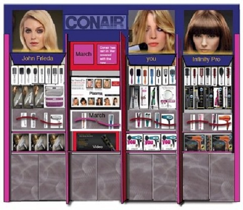 Nationwide Conair, JC penny concept shop, sma;; elecronics dept, salon concept shop, interactive store dept